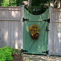 Arched Square Lattice Man Gate By Elyria Fence