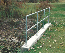 Custom Pipe Handrail and Guard Rail for a culvert by Elyria Fence