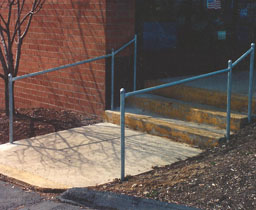Commercial Pipe Stair Rail by Elyria Fence