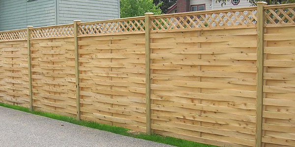 Good Neighbor Cedar Basketweave Fencing with lattice by Elyria Fence