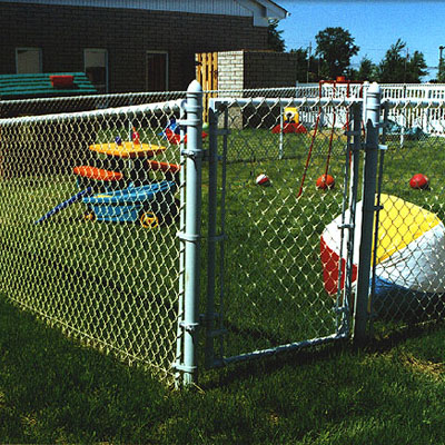 aluminized chain  link fence installed by Elyria Fence