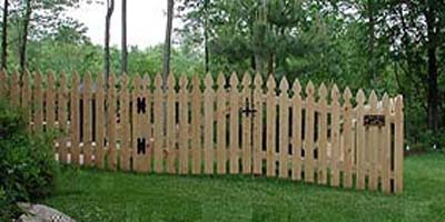 Cedar Picket Fencing design by the Elyria  Fence Company
