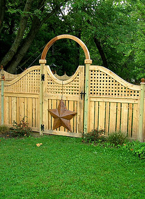 wood semi private fence with square lattice by elyria fence