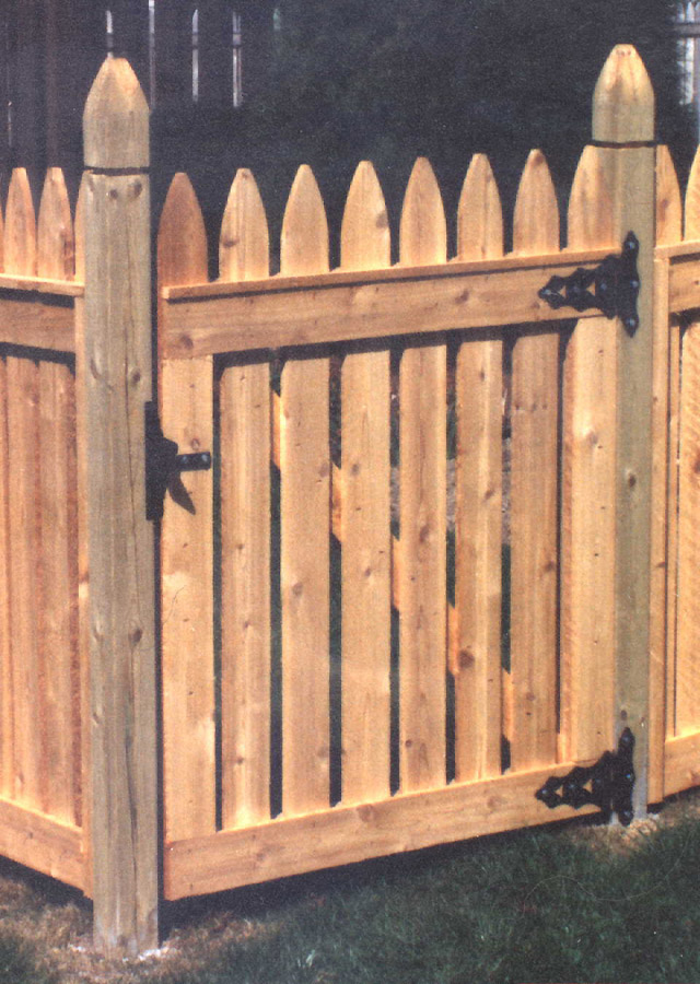 Wooden Picket Gate by Elyria Fence Inc