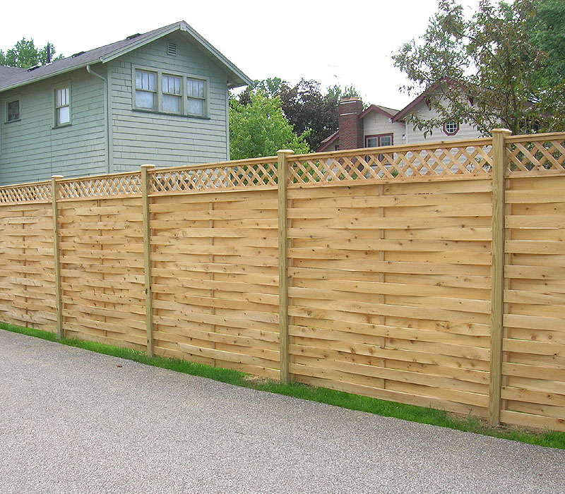 Basketweave Wood Fence With Diagonal Lattice by Elyria Fence