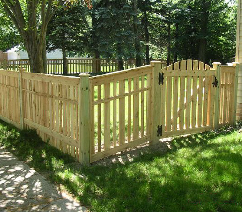 Spaced Provinicial Wood Fence With Arched Gate by Elyria Fence