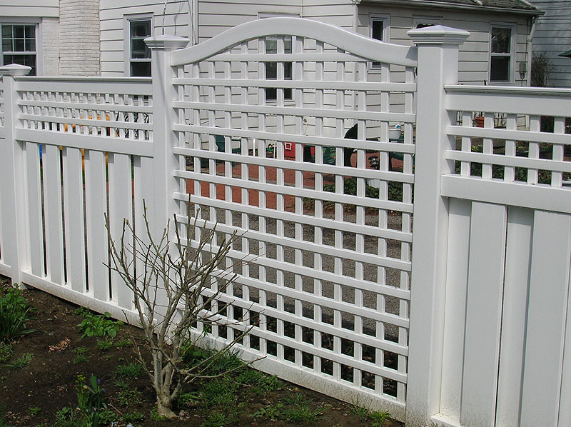 Vinyl Arched Square Lattice Fence by Elyria Fence