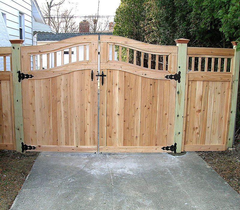Arched Good Neighbor Privacy Wood Gate & Fence by Elyria Fence