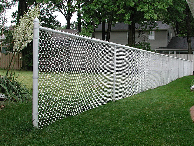 White Vinyl Coated Chain Link Fence