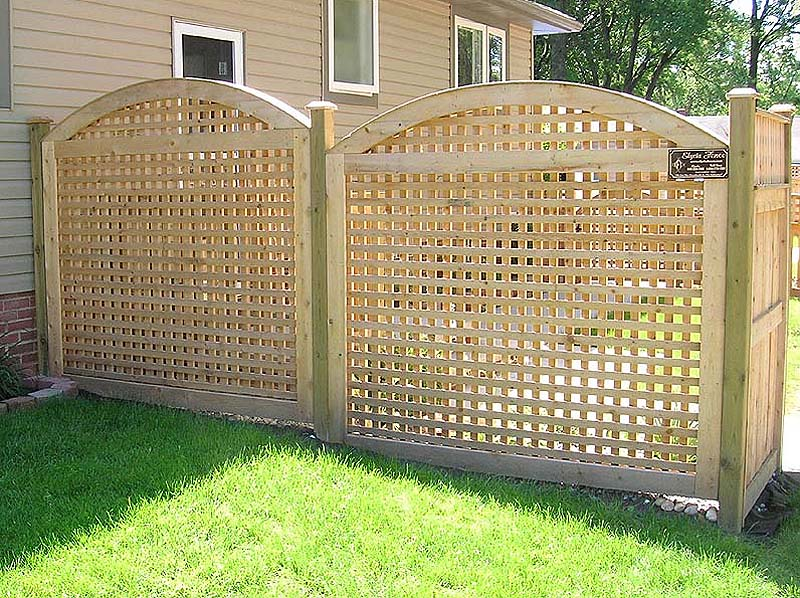 Arched Square Lattice Wood Fence By Elyria Fence