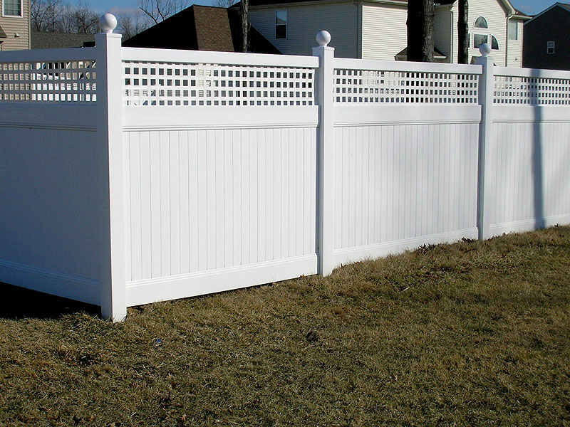 Vinyl Privacy Fence With Square Lattice by Elyria Fence