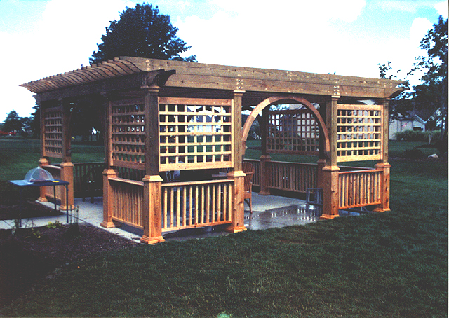 Wood Pergola With Square Lattice