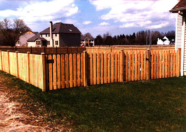White Cedar Spaced Wood Picket Fence Design by Elyria Fence