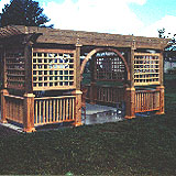 wood pergola with square lattice by elyria fence