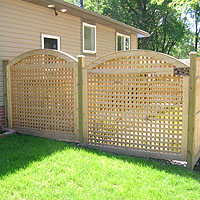 Arched Square Lattice Wood Fence