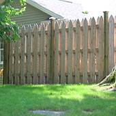 semi private shadow box white cedar wooden picket fence by elyria fence