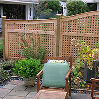 Arched Square Lattice Patio Fence