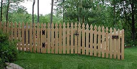 spaced white cedar wood imperial picket fence by elyria fence
