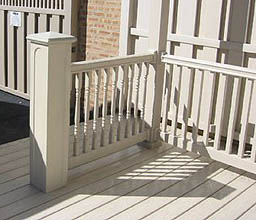 faux masonry porch posts with vinyl railing