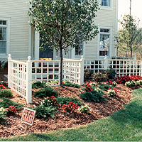 Square Lattice Wood Fence by Elyria Fence