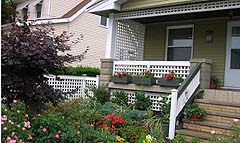 White Cedar Wood Square Lattice Railing by Elyria Fence