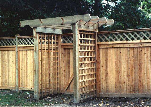 Custom Wood Pergola With Square Lattice by Elyria Fence