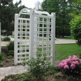 vinyl arbor with english lattice by elyria fence